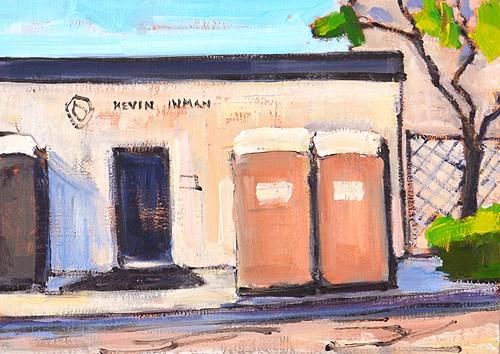 """""""Porta Potties, Little Italy"""" original fine art by Kevin Inman"""
