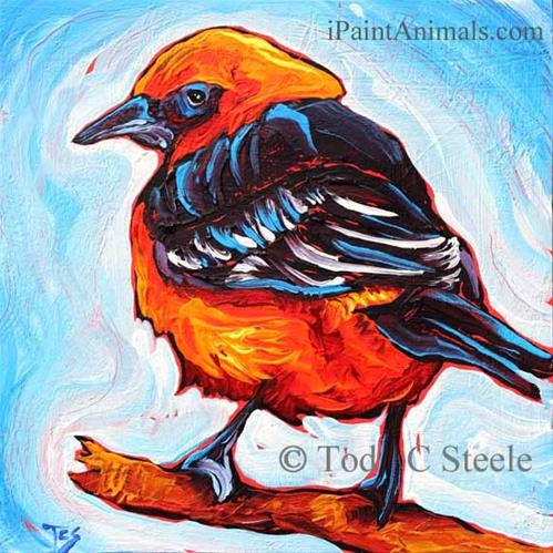 """A Friend in High Places - 1 Bird Painting by Tod C Steele"" original fine art by Tod Steele"