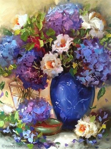 """California Dreaming Hydrangeas and a San Diego Workshop - Flower Paintings by Nancy Medina"" original fine art by Nancy Medina"