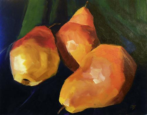 """""""#31 - Three Pears"""" original fine art by Elizabeth Dawn Johnston"""