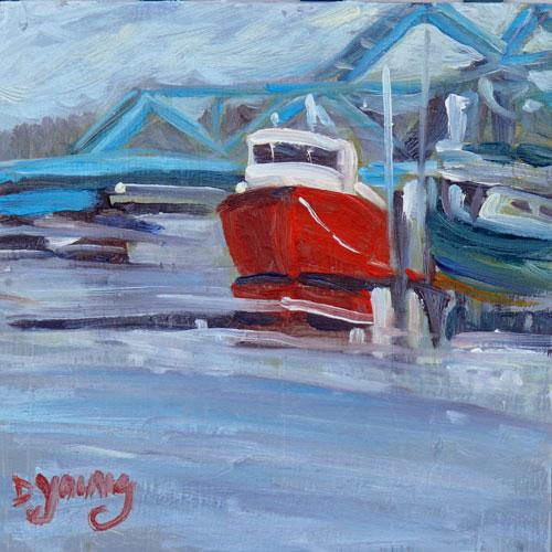 """Blue Bridge"" original fine art by Darlene Young"