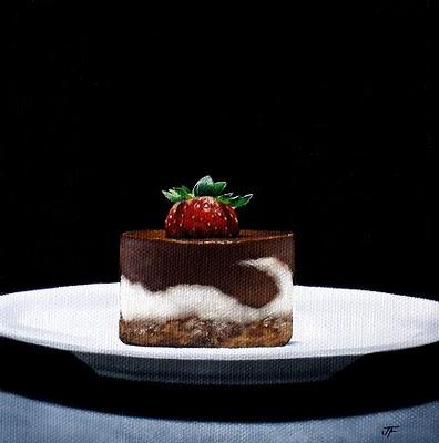 """Strawberry Chocolate Cheesecake"" original fine art by Jelaine Faunce"