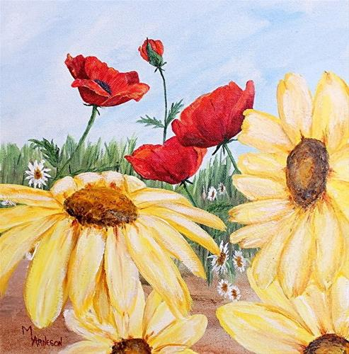 """""""Contemporary Flower Art Painting Poppy Daisy, Sunkissed by Mary Arneson Art-Works of Whimsy"""" original fine art by Mary Arneson"""
