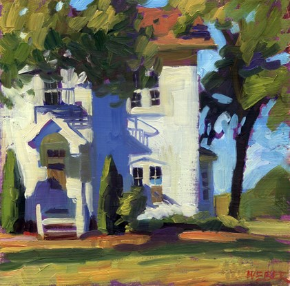 """White buildings in the sun"" original fine art by Kathy Weber"