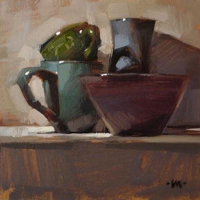 """Blue Stacks"" original fine art by Carol Marine"