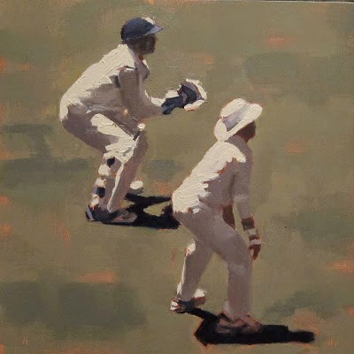 """""""WICKET KEEPER and 1st SLIP - Cricket at the MCG"""" original fine art by Helen Cooper"""