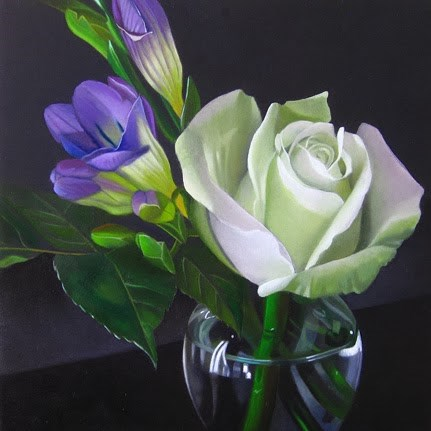 """Green Rose With Freesias 6x6"" original fine art by M Collier"
