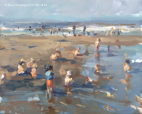 """""""Seascape summer # 23 Seaside crowded with children (sold)"""" original fine art by Roos Schuring"""