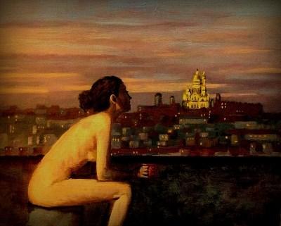 """""""Montmartre Rooftop Nude"""" original fine art by David Larson Evans"""
