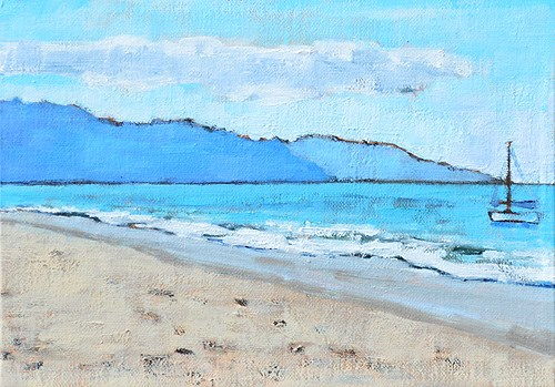 """Santa Barbara Beach Sailboat- En Plein Air"" original fine art by Kevin Inman"