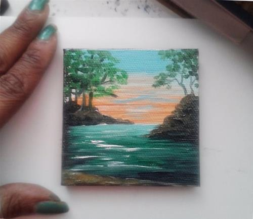 """Mini Oil Painting River, Trees"" original fine art by Camille Morgan"