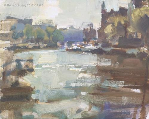 """""""Cityscape Amsterdam #3 View from Halvemaanbrug"""" original fine art by Roos Schuring"""