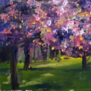 """pink forest"" original fine art by Kim Smith"