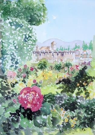 """Garden surronding Alhambra, Granada, Spain"" original fine art by Lisa Fu"