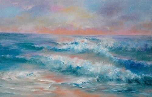 """Ocean Waves, 24 x 36 Oil, Seascape"" original fine art by Donna Pierce-Clark"