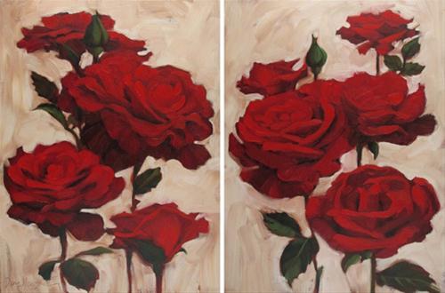 """Garden Roses red floral flower pair paintings"" original fine art by Diane Hoeptner"