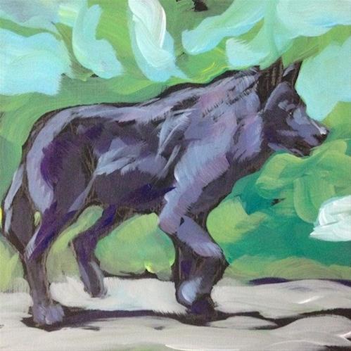 """Steppin' Wolf"" original fine art by Kat Corrigan"
