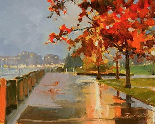 """""""Waterfront Park Portland city oil painting by Robin Weiss"""" original fine art by Robin Weiss"""