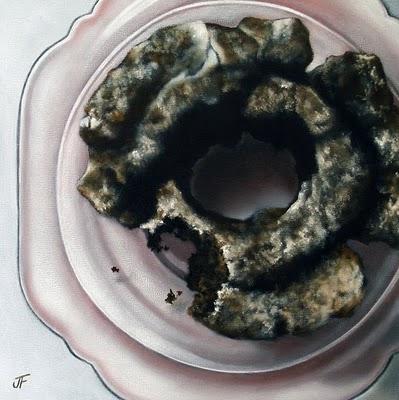"""Doughnut Study - Old Fashioned Iced Chocolate"" original fine art by Jelaine Faunce"