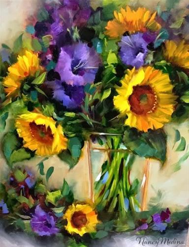 """Day 27 ~ Warm Glads and Sunflowers and a Tennessee Workshop by Nancy Medina"" original fine art by Nancy Medina"