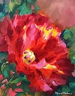 """Morning Glow Poppy Solo and Getting Chewed Out by the Boss in Flower Mound Art Studio"" original fine art by Nancy Medina"