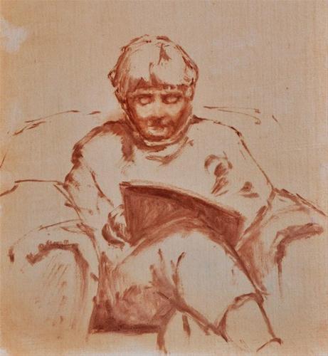 """Woman Reading"" original fine art by Susan Matteson"