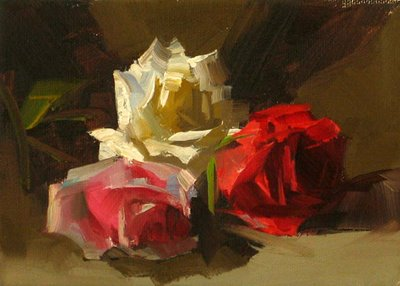 """""""Three Roses --- Sold"""" original fine art by Qiang Huang"""