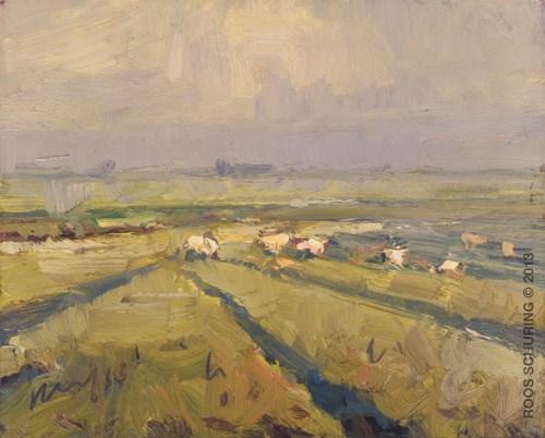 """Sheep in evening Light"" original fine art by Roos Schuring"