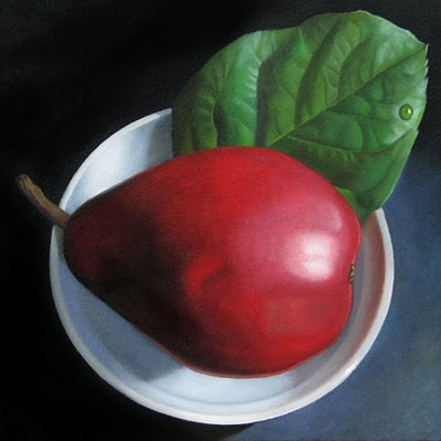 """""""Red Pear and Lemon Leaf  6x6"""" original fine art by M Collier"""