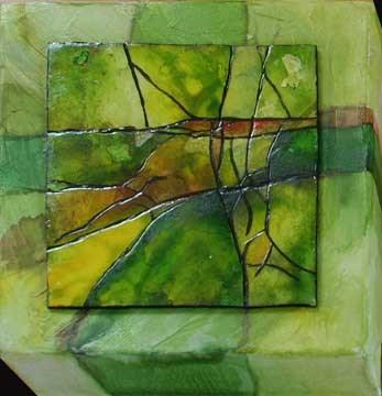 """""""Little Green Abstract"""" original fine art by Kara Butler English"""