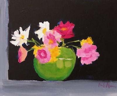 """Flowers on window sill"" original fine art by Pamela Munger"