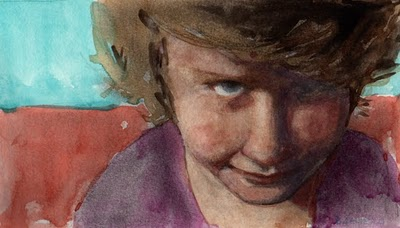 """""""Watercolor: Study for Practiced Resolve (& a painting by Jonathan Aller)"""" original fine art by Belinda Del Pesco"""