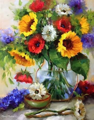 """Free Falling Sunflowers and Poppies by Floral Artist Nancy Medina"" original fine art by Nancy Medina"