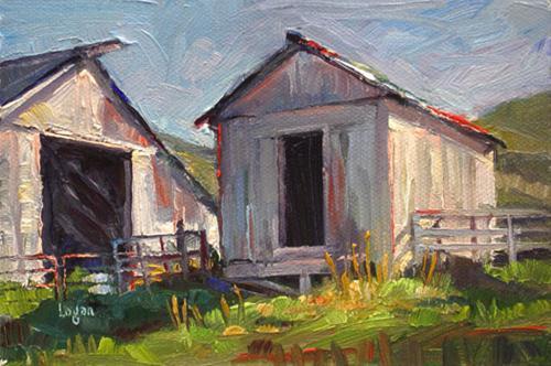 """SLO Farm Building"" original fine art by Raymond Logan"