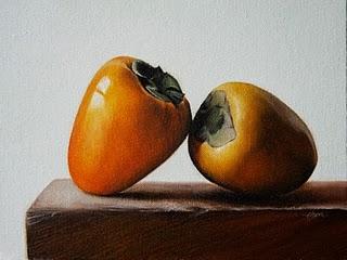 """""""Hachiya Persimmons"""" original fine art by Jonathan Aller"""