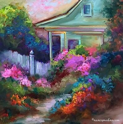 """""""Pink Azalea Cottage and My Great-Grandmother's House"""" original fine art by Nancy Medina"""