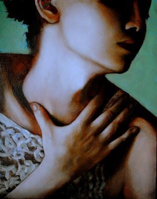 """Cross My Heart 16x20 oil on canvas in darkwood frame"" original fine art by David Larson Evans"