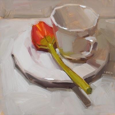 """Tulip Tea"" original fine art by Carol Marine"