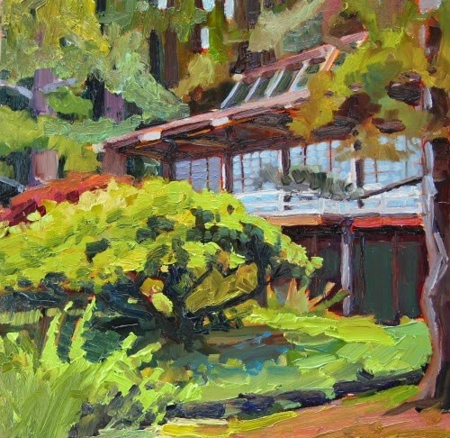 """The Teahouse at Bloedel  Bloedel Reserve, oil landscape painting by Robin Weiss"" original fine art by Robin Weiss"