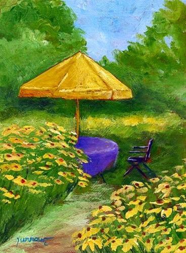"""ORIGINAL PAINTING OF GARDEN WITH YELLOW UMBRELLA"" original fine art by Sue Furrow"