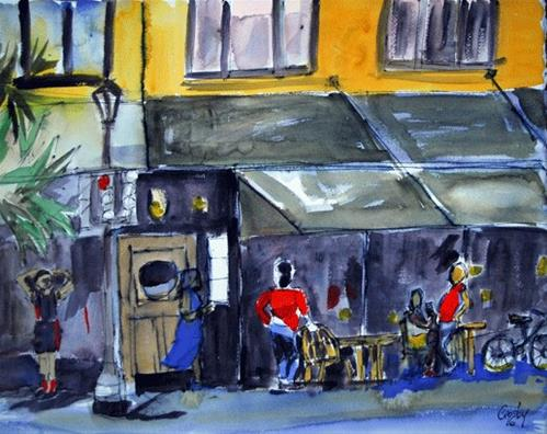 """""""Outside Customers 2"""" original fine art by Donna Crosby"""
