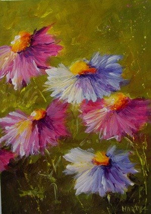 """""""Pink and White Coneflowers"""" original fine art by Alice Harpel"""