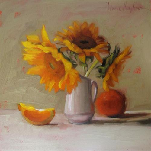 """Second Thoughts original oil painting orange"" original fine art by Diane Hoeptner"