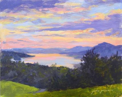 """Pink and Purple Sunset from Olana"" original fine art by Jamie Williams Grossman"