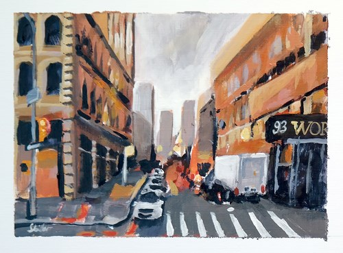 """1798 Postcard of NYC Streetview 1"" original fine art by Dietmar Stiller"