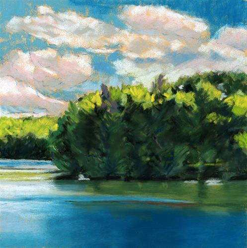 """View at the Lake landscape pastel painting"" original fine art by Ria Hills"