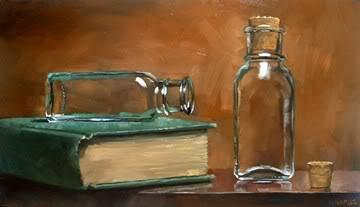 """Bottles & Book (Finished)"" original fine art by Michael Naples"