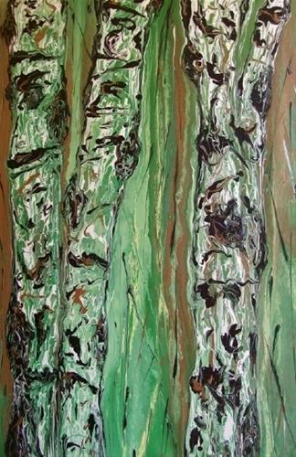 """Contemporary Abstract Aspen Tree Painting Abstracted Aspens #64 by Colorado Contemporary Artist Ki"" original fine art by Kimberly Conrad"