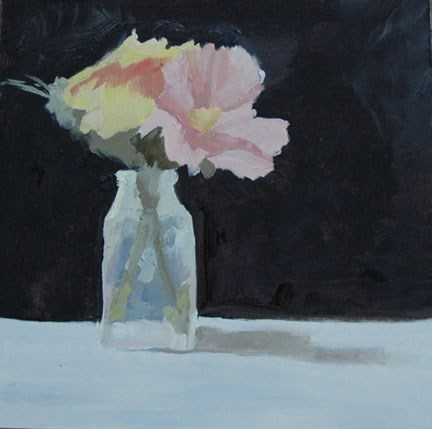 """FLOWERS IN VASE"" original fine art by Linda Popple"