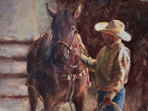 """A Private Conversation"" original fine art by Charlotte Cox"